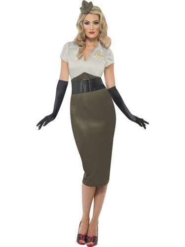 Smiffys Karneval Damen Kostüm Army Pin Up Kleid sexy Soldaten Lady Gr.36/38