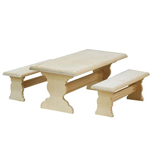 STOBOK Mesa Larga de Jardín en Miniatura Y 2 Juegos de Muebles de Casa de Muñecas Accesorios Figuras Juguetes Modelo para Casa de Muñecas Decoración de Micro Paisaje 3 Piezas