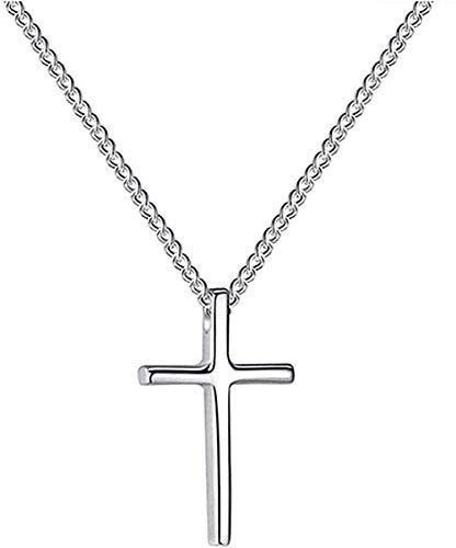 Yiffshunl Collar Collares de Moda Collar Plateado Colgante Cristiano Cadena en Forma de Cruz Regalo de Regalo Encanto Joyería de Moda Simple