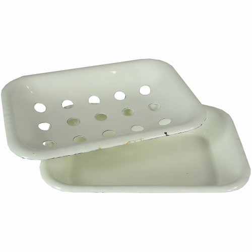 "Creative Co-op DA1989 Soap Dish, 6"" L x 4"" W x 1"" H, White"