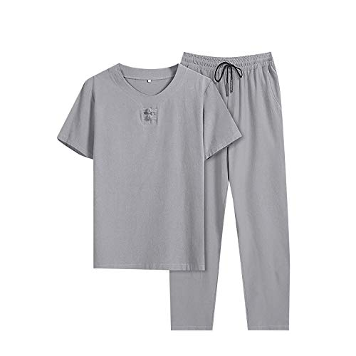 T-Shirt Top Hose Zweiteiliger Anzug Herren Retro Loose Langarm (Top + Hose) (M,2grau)