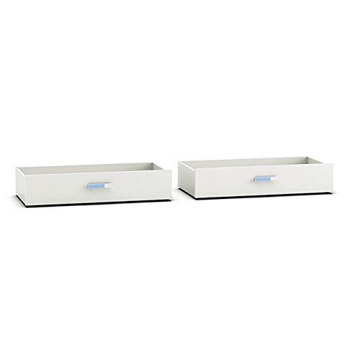 Jugendmöbel24.de Bettkästen (2er Set) weiß/blau für 200 * 90 Bett B 95 cm H 19 cm T 47 cm (je Bettkasten) Bettschubkasten Kasten Schubkasten Auszugsschublade