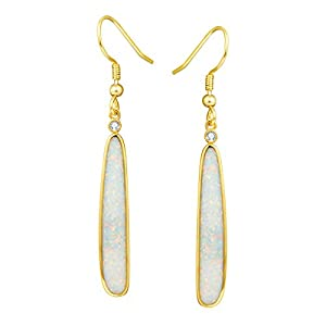 FANCIME Sterling Silver Created Fire Opal Teardrop Long Dangle Earrings October Birthstone Basic Dainty hypoallergenic Drop Earrings Fine Jewelry for Women
