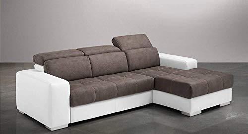 Dafnedesign.Com - Sofá cama esquinero de 3 plazas con chaise longue a la derecha Piel sintética de color blanco, efecto Nabuk Elephant (cm. 259 x 178 x 94 cm.