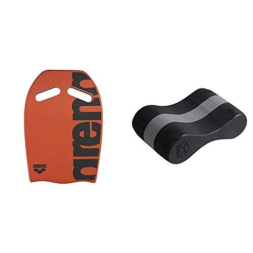 ARENA Unisex Schwimmbrett Kickboard als Schwimmhilfe, Orange (30), One Size & Unisex Pullbuoy/Schwimmbrett Freeflow Pullbouy zur Verbesserung der Wasserlage und Körperhaltung, Black-Grey (51)