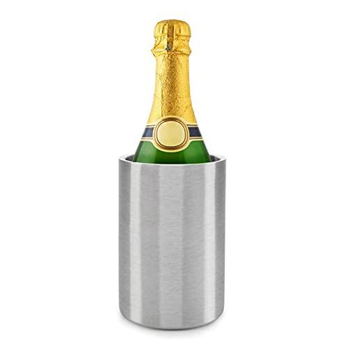 LIRONGXILY Cubiteras para Hielo Cubo de Hielo de Vino,Acero Inoxidable Doble Pared Blanco Botella de Vino Bucket,Cubo de Hielo de Cerveza de champán Aislado.