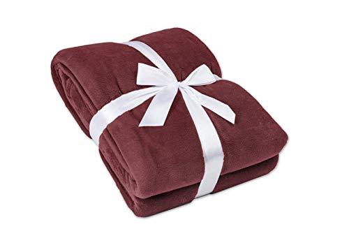 myHomery Ärmeldecke Bordeaux 170x200 cm - Kuscheldecke XL - TV-Decke mit Ärmeln - Fleecedecke als Geschenk - Sofadecke mit Taschen für IPad Fernbedienung und Füße
