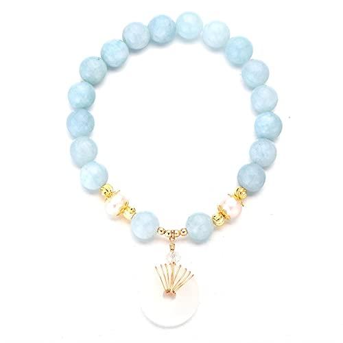 Rongxin Perla de agua dulce verde/azul, colgante de esmeralda, pulsera de oro para mujer, joyería de la suerte para hombres (color de la gema: azul cielo)
