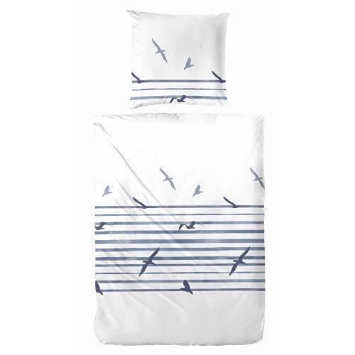 Aminata BALANCE Ropa de cama 135 x 200 cm, diseño marítimo de bloques, rayas marítimas y verano, color azul, blanco – algodón y cremallera – juego de ropa de cama juvenil – pájaro