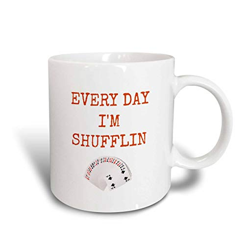 NA Every Day I 'm Shuffling Picture of Deck of Cards Taza de cerámica con Letras Naranjas, Blanco