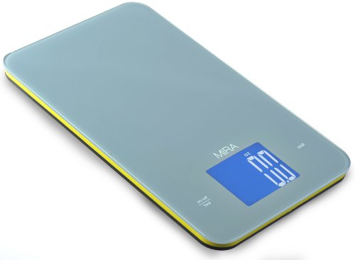 Digital Kitchen Food Scale | Portable 11 Lb Capacity Food Scale Measures Grams, Pounds & Ounces Glass Platform Kitchen Scale | Orange | by MIRA