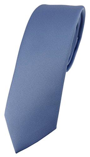 TigerTie schmale Designer Krawatte in pastellblau einfarbig Uni - Tie Schlips