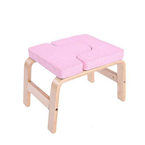 Kopfstandhocker Safe,Yoga Stuhl Holz für Familie,Hocker überschlagen mit Holz Und Leinen Auflagen,Fitnessgeräte - lindern Sie Müdigkeit und Bauen Sie Körper auf,Rosa