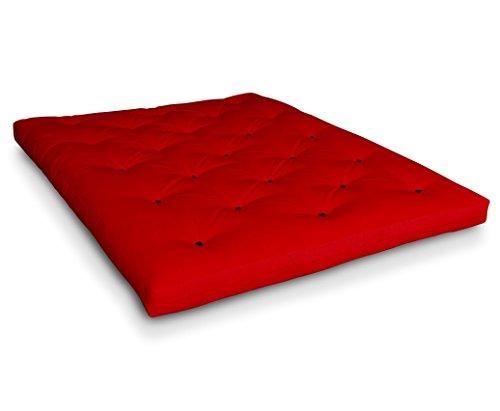 Futon Shiatsu Baumwollfuton Futonmatratze mit 4X Baumwolle von Futononline, Größe:140 x 200 cm, Color Futon SE Amazon:Rot/Filz schwarz