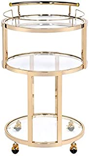 """Major-Q 9098286 34"""" H Modern Style 5mm Clear Round Tempered Glass Top Gold Finish Metal Frame Kitchen Island Wine Serving Cart with 4 Caster Wheels"""