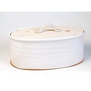Brottopf – Oval, weiß-sand, Keramik/Holz, eine Variante der Familiengröße