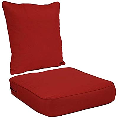 Sunnydaze Back and Seat Cushion Set for Outdoor Furniture - 2-Piece Replacement Cushions for Deep Seating Patio Chair - Outside Pads for Porch, Deck and Garden Seats - Red
