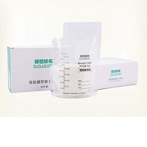 SeniorMar-UK 20 Stück 250ml Milch Gefrierbeutel Muttermilch Babynahrung Aufbewahrung Muttermilch Aufbewahrungsbeutel BPA Free Baby Safe Fütterungsbeutel