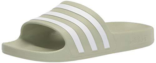 adidas Women's Adilette Aqua Slide Sandal, Halo Green/White/Halo Green, 8