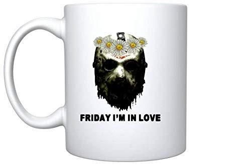 Jason Voorhees Face Friday I & rsquo; m In Love Follower - Taza de regalo de 11 oz