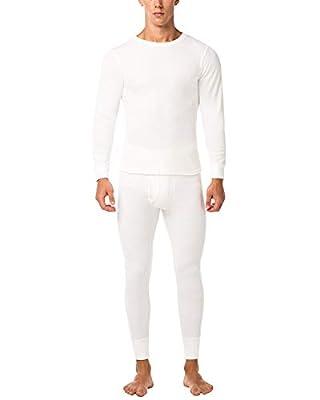 LAPASA Men's Thermal Underwear Long John Set Waffle Knit Base Layer Top and Bottom M60 (Medium, White)