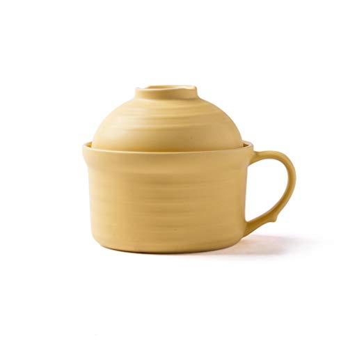 YYF Couvercle créatif européen Macarons - grandes nouilles instantanées en céramique avec couvercle. (Color : Jaune)