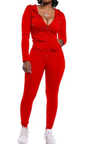 PRETTYGARDEN Women's Two Piece Tracksuit Set Long Sleeve Zipper Hoodie Jacket with Sweatpants Sweatsuit Jogger Workout Set Red