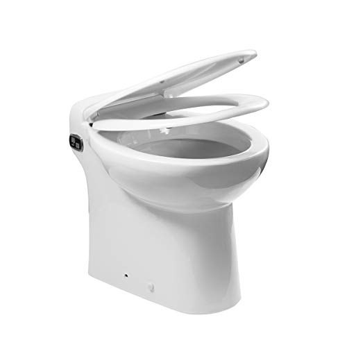 600 Watt One Piece Macerating Toilet with 4/5HP Pump Built Into the Base, Compact Toilet, Space Saving, Strong Power (600Watt)