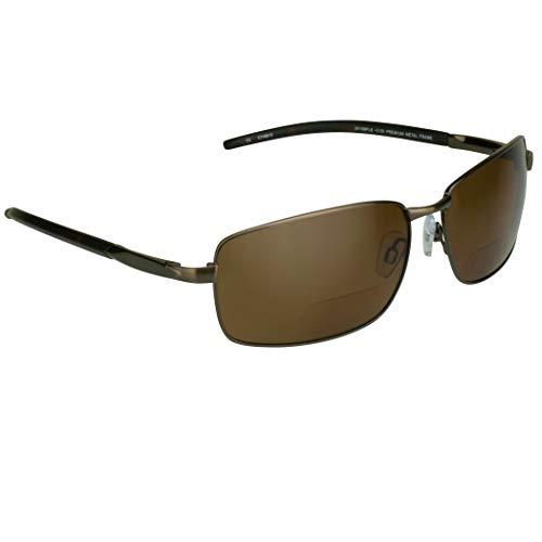 proSPORT Polarized Bifocal Sunglasses Men Women Fishing Driving Boating Golf Bronze Brown Premium +2.00 Anti Glare TAC Lenses Durable Metal Alloy Frames Spring Hinge