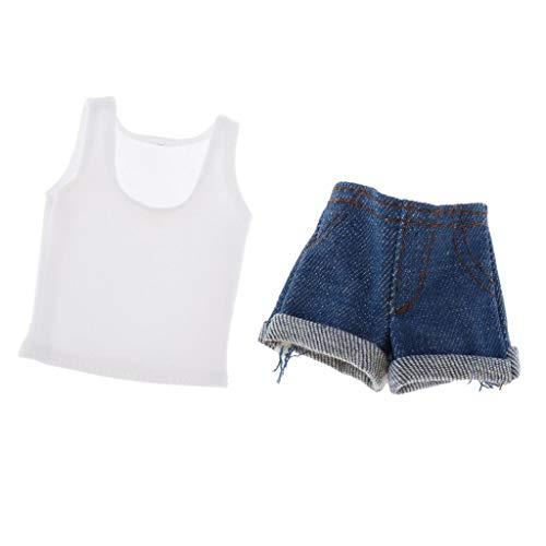 Sharplace 1/6 Vrouwelijke Action Figure Wit Casual Vest Top & Denim Shorts Of Rok Pak Kleding Set voor 12 Inch Meisjes Pop Kostuum Outfits - Korte spijkerbroek