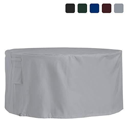 Covers & All Outdoor Patio Round Table & Chair Set Cover 18 Oz Waterproof - 100% UV & Weather Resistant PVC Coated Round Table Cover with Air Pockets & Drawstring for Snug Fit (95, Grey)