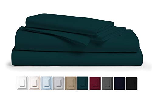 True 800 Thread Count 100% Pure Egyptian Cotton Bed Sheets, 4-Pc Cal King TEAL Sheet Set, Single Ply Long-Staple Combed Cotton Yarns, Best Sateen Weave, Fits Mattress Upto 17'' Deep Pocket