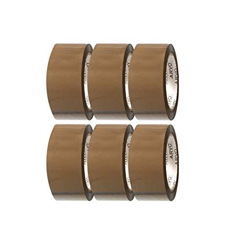 Cinta de embalaje marrón de bajo ruido, 48 mm x 60 m - Paquete de 6