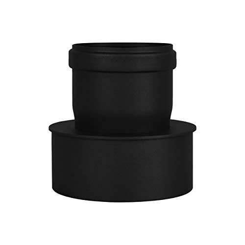 LANZZAS Pelletrohr Erweiterung von Ø 80 mm auf Ø 120 mm in schwarz Pelletrauchrohr Pelletofenrohr Pelletkaminrohr Ofenrohr