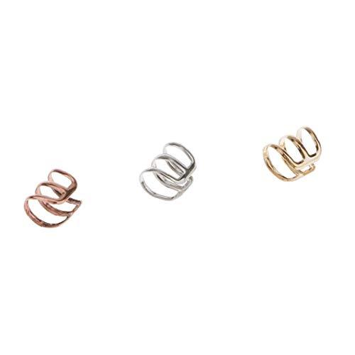 Naicasy Clips para Las Orejas 3 Piezas de Acero Inoxidable Clips para Las Orejas para no Piercing Pendientes del aro abofetea cartílago Set Hombres Mujeres - Oro, Plata, Cobre