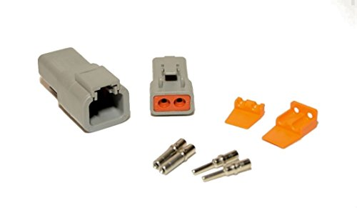 Deutsch DTP 2-Pin Connector Kit with 12-14 Gauge Solid Contacts