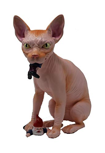 Mischievous Wicked Sphynx Hairless Cat Garden Gnome Massacre - Great Gardening Statue Figurine Decoration - Funny Unique Gnomes Lawn Ornament Figure Sculpture for Indoor Outdoor Home Decor (Pink) 10'