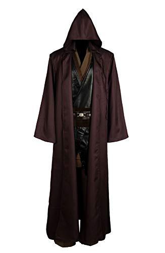 RedJade Anakin Skywalker Jedi Outfit Traje de Cosplay Disfraz con Capa Capote Hombres XL