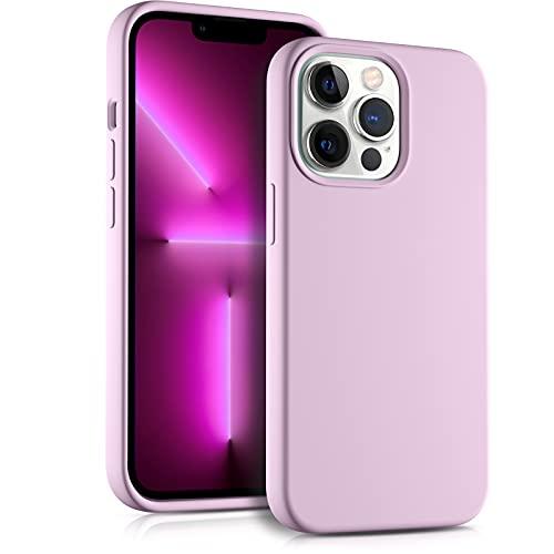 Upeak Silikon Hülle Kompatibel mit iPhone 13 Pro Hülle, Dünne 6,1 Zoll 13 Pro Handyhülle Dreischichtige Struktur Ganzkörper Schutzhülle mit Glatter Textur, Lavendel Lila