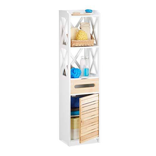 Relaxdays Sidoskåp stor med 6 hyllor, allmänt skåp för badrum och kök, smal hyllskåp för nischer, vit