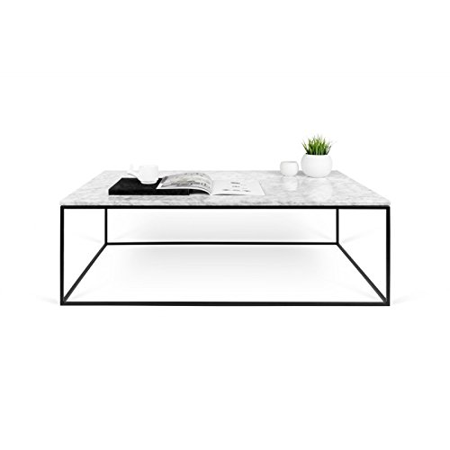 Paris Prix - Temahome - Table Basse Gleam 120cm Marbre Blanc & Métal Noir