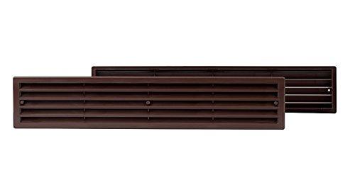 Braun - Rejilla de ventilación para puerta de cocina o baño, 450 x 92 mm, plástico