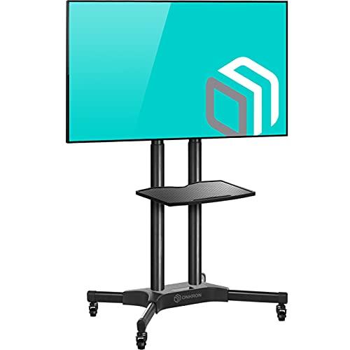 ONKRON Supporto TV da pavimento per LCD LED Plasma 32-65 pollici CARRELLO TV UNIVERSALE CON ROTELLE PIEDISTALLO PER TV FINO 45.5 kg MOBILE STAFFA TV CON VESA max 600 x 400 mm TS1351-BLK