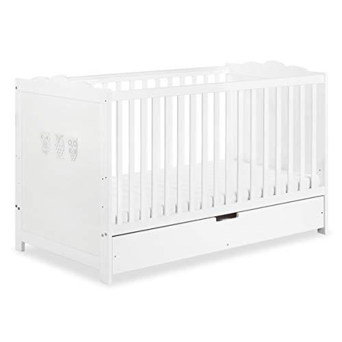 MARSELL Lit bébé évolutif enfant motifs hiboux 140X70 + tiroir