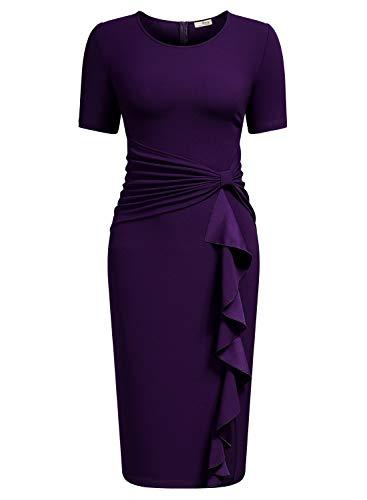 AISIZE Women 50s Vintage Ruffle Peplum Cocktail Pencil Knee Dress Large Purple