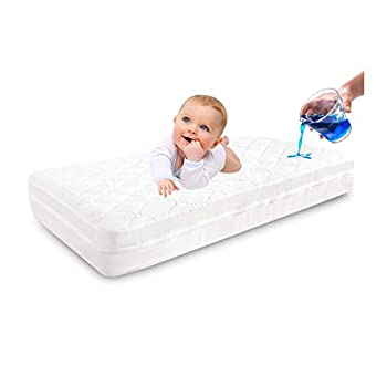 Zippered Crib Mattress Protector - 100% Waterproof for 6 Sides Protection - Crib Mattress Encasement - Size 53 X 28 in   Breathable Fully Encased Crib Mattress Cover for Baby and Toddler  White