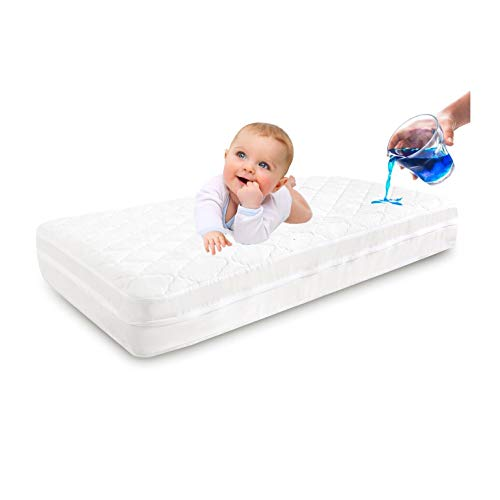 Zippered Crib Mattress Encasement | 100% Waterproof Crib Mattress Protector | Size 53X28in | Six Sides Dust Mite, Bed Bug Proof | Breathable Fully Encased Crib Mattress Cover for Toddler
