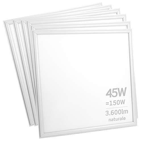 6x Pannelli LED 45W 60x60cm 3600 lumen - Luce Bianco Naturale 4000K - Fascio Luminoso 120°