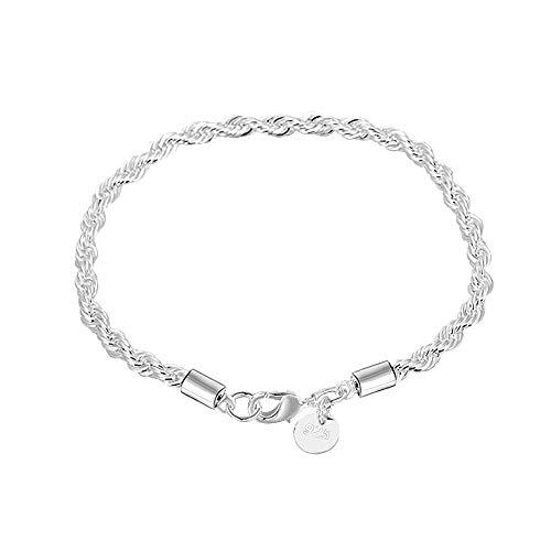 WikiMiu Armband Damen Silber 925, gedrehtem Seil Design Armband Armreif, Geschenk für Frauen zum Geburtstag Weihnachten und Feiertag