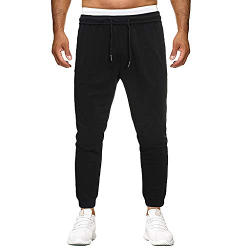 SHE.White heren joggingbroek sportbroek vrije tijd trainingsbroek fitness sweatpants lange broek katoen vrijetijdsbroek slim fit effen maat Pants M-4XL Large zwart